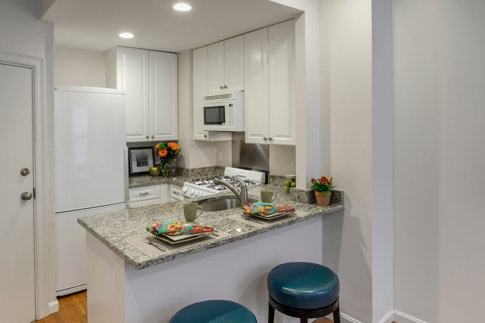 Model bar and kitchen area at Burbank Apartments in Boston, Massachusetts