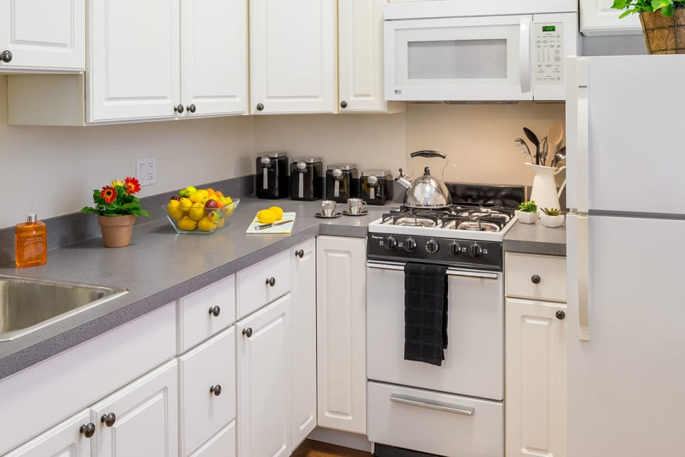 Kitchen area featuring white appliances at Burbank Apartments in Boston, Massachusetts