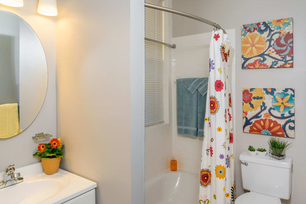 Model bathroom area at Burbank Apartments in Boston, Massachusetts