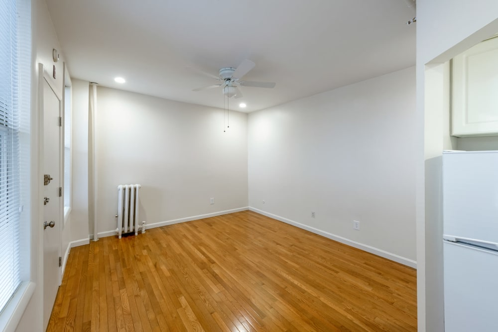 Spacious model room at Burbank Apartments in Boston, Massachusetts