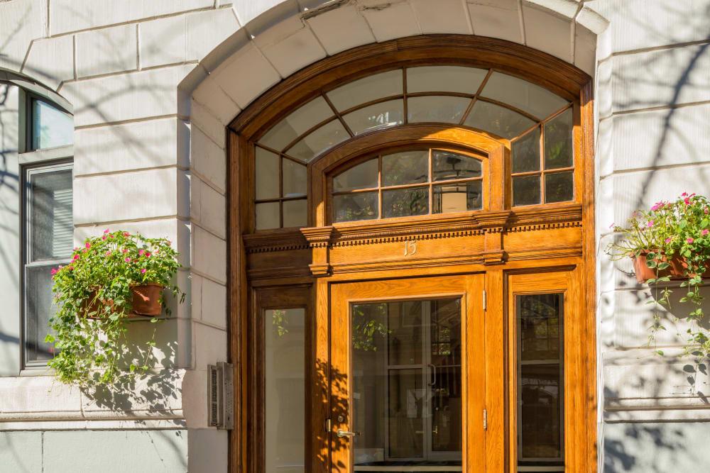 Front door of Burbank Apartments in Boston, Massachusetts