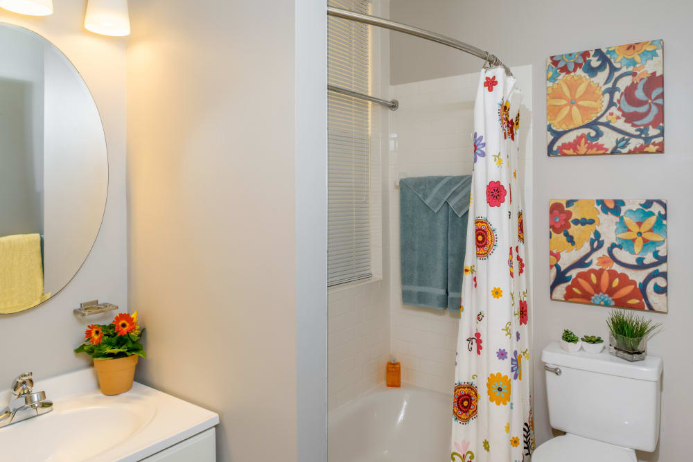 Model bathroom at Burbank Apartments in Boston, Massachusetts