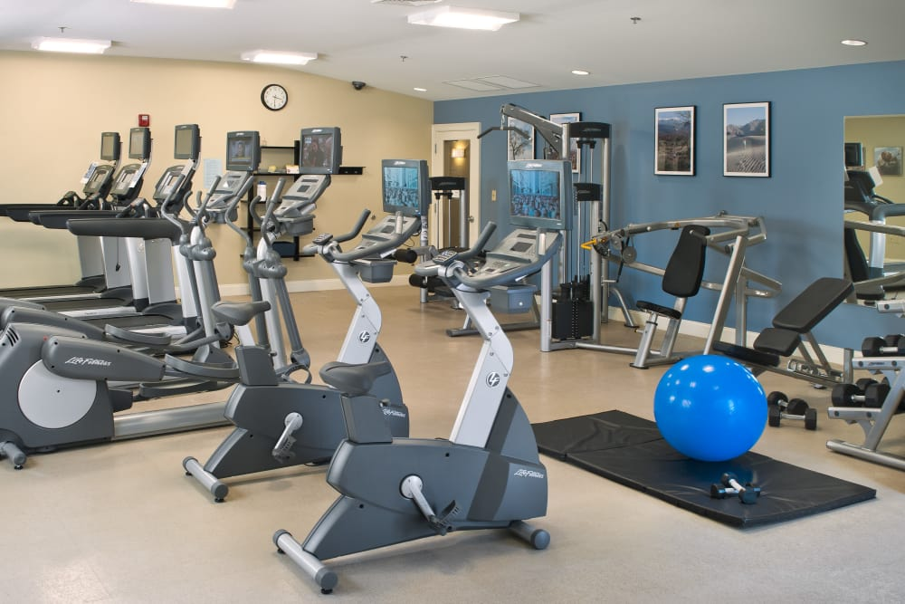 Fitness center at apartments in Worcester, Massachusetts