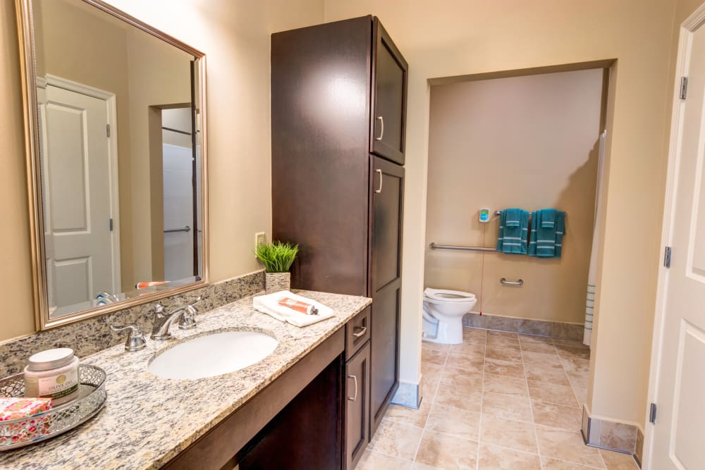 Resident bathroom at Symphony at Delray Beach in Delray Beach, Florida.