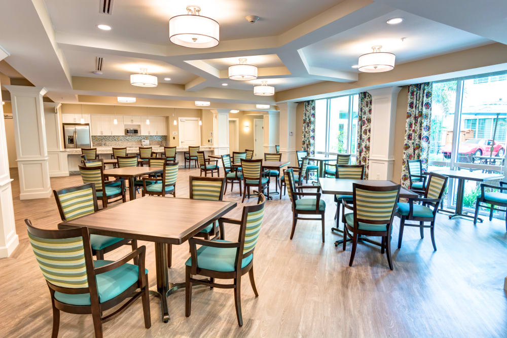 Dining area where chef-prepared meals are served at Symphony at Delray Beach in Delray Beach, Florida.