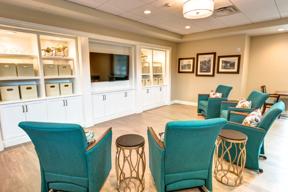 TV room at Symphony at Delray Beach in Delray Beach, Florida.