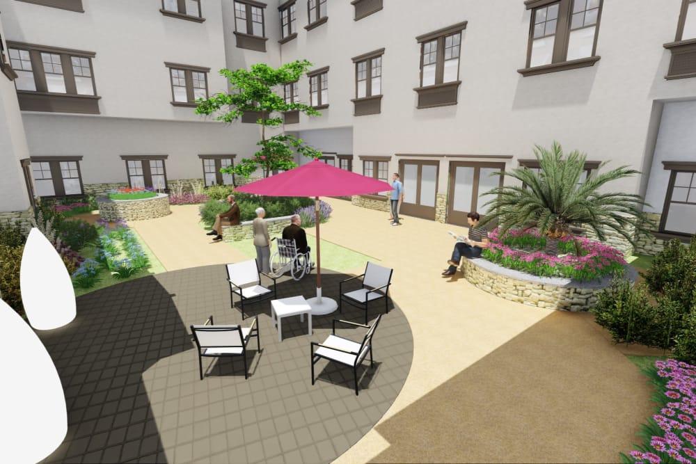 3D rendering of outside resting area at Westmont of La Mesa in La Mesa, California