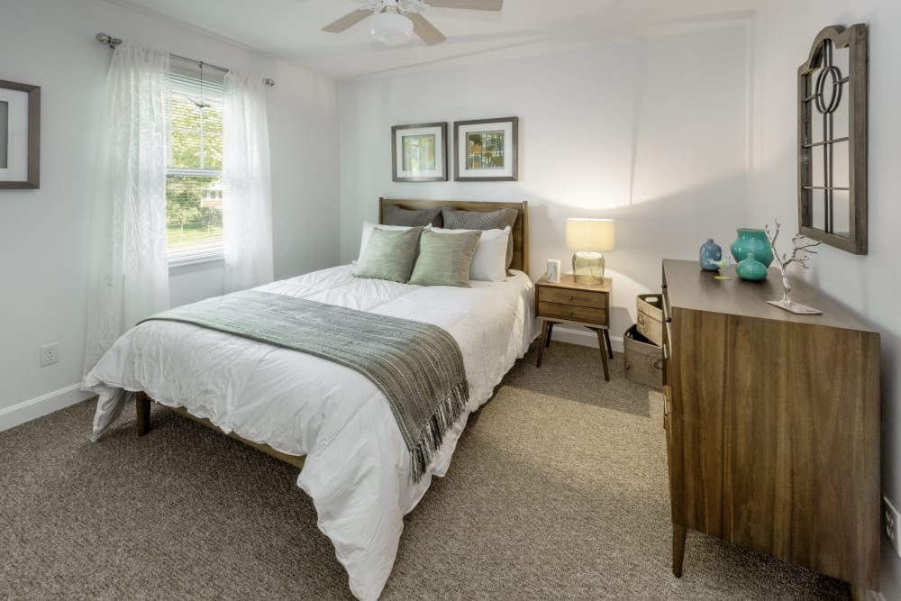 bedroom at model apartment at President Village in Fall River, Massachusetts