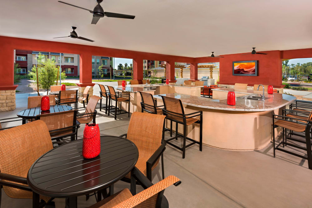 Dining area and kitchen at the clubhouse at Southern Avenue Villas in Mesa, Arizona