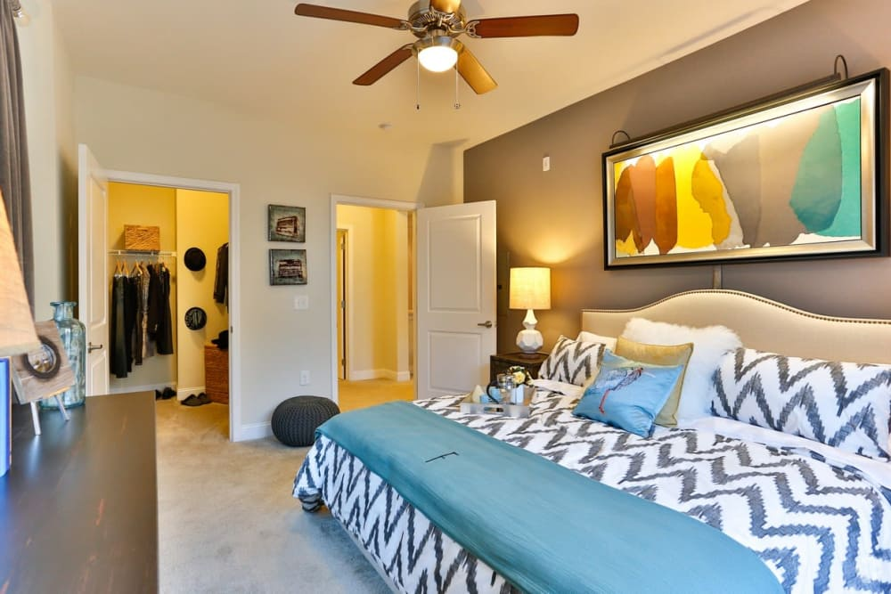Bedroom at Fountains at Mooresville Town Square apartments in Mooresville, North Carolina