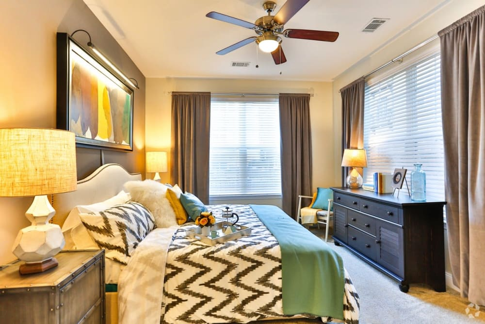 Luxury bedroom at Fountains at Mooresville Town Square in Mooresville, North Carolina