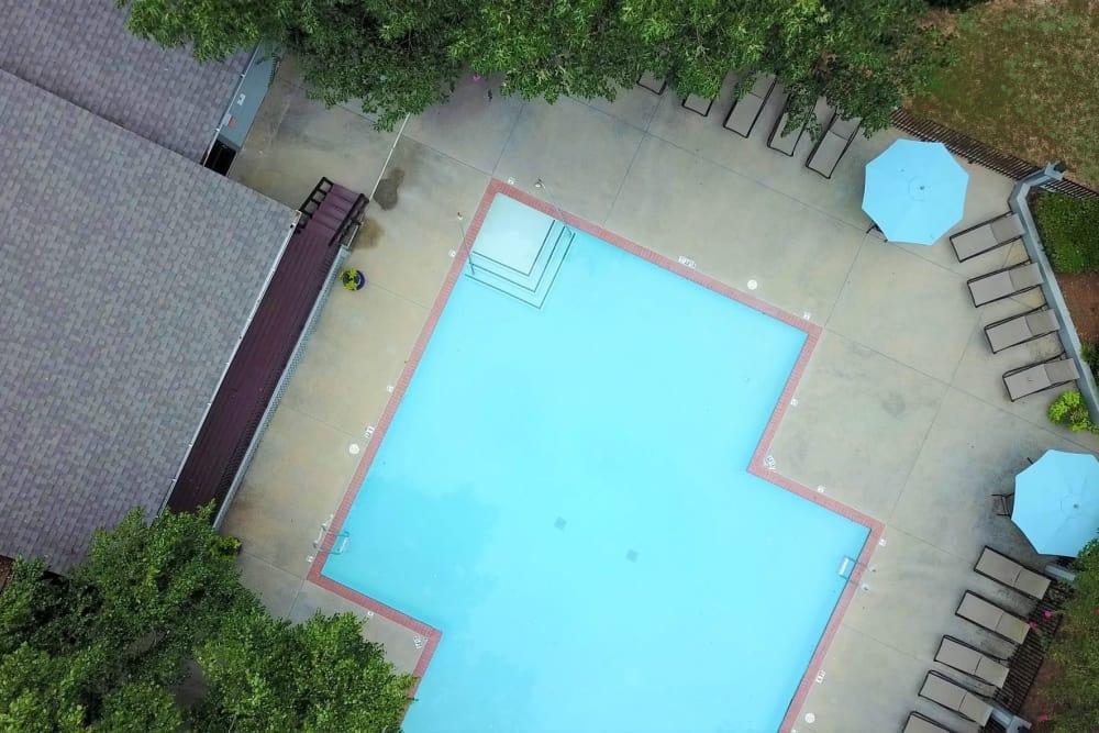 Aerial view of swimming pool at Lake Crossing in Austell, Georgia