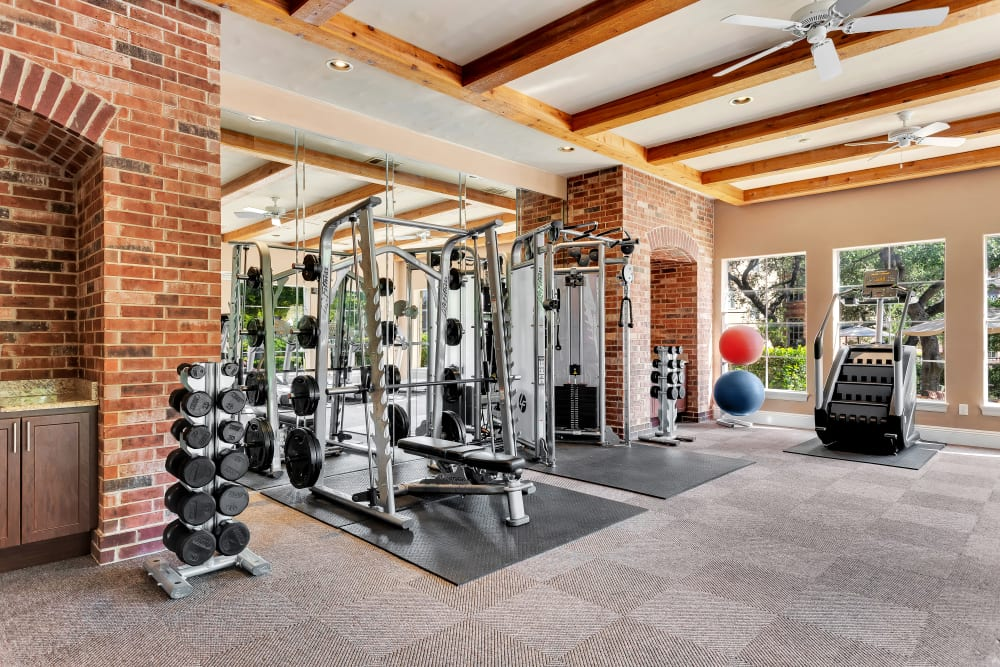 Well equipped fitness center at The Estates of Northwoods in San Antonio, Texas
