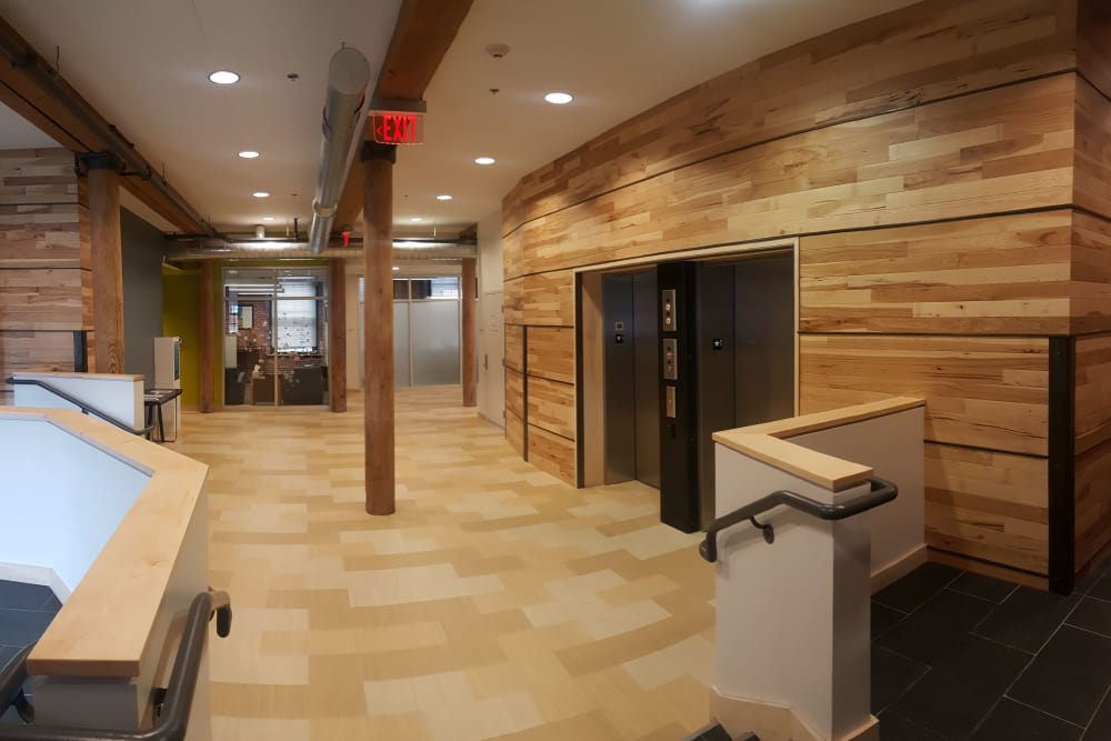 Elevators area at Duck Mill Apartments in Lawrence, Massachusetts