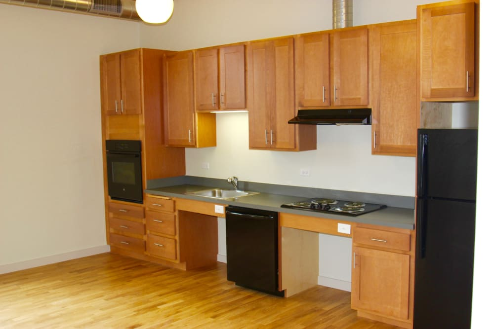 New renovated kitchen at Duck Mill Apartments in Lawrence, Massachusetts