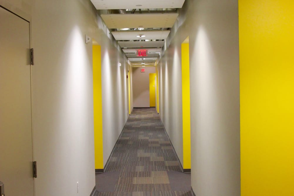 newly painted corridor at Duck Mill Apartments in Lawrence, Massachusetts