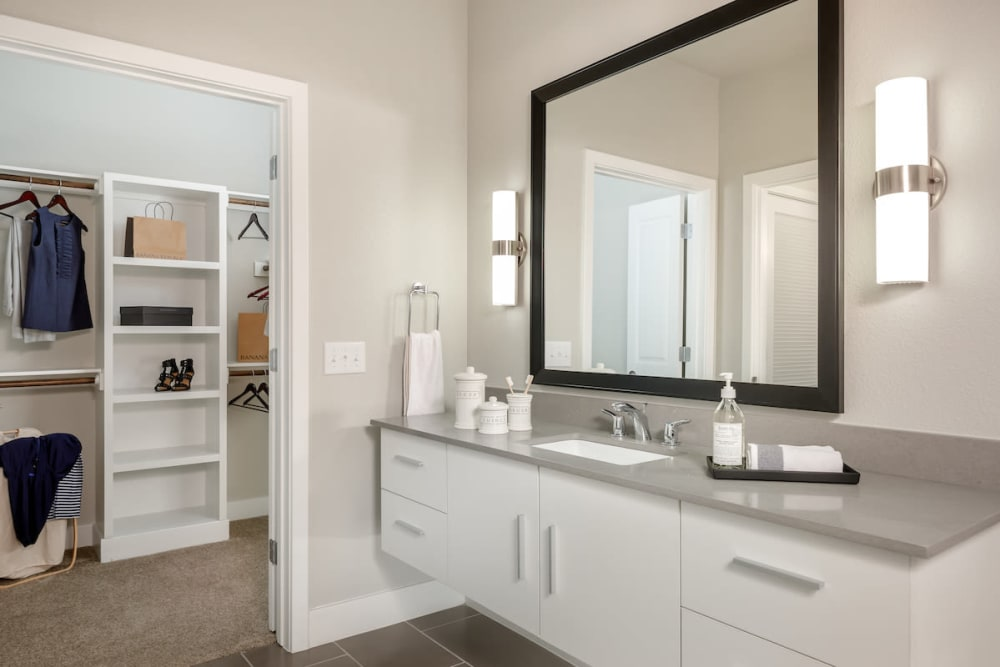 Lovely model bathroom at Ascent Cresta Bella in San Antonio, Texas