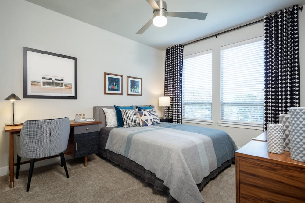Lovely model bedroom at Ascent Cresta Bella in San Antonio, Texas