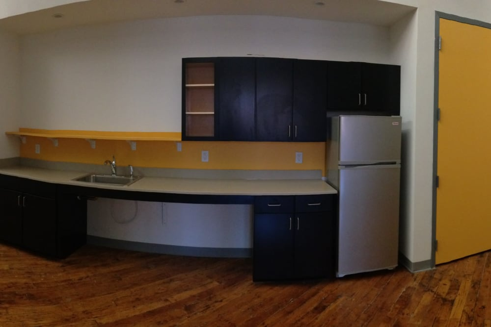 Kitchen area at Union Crossing in Lawrence, Massachusetts