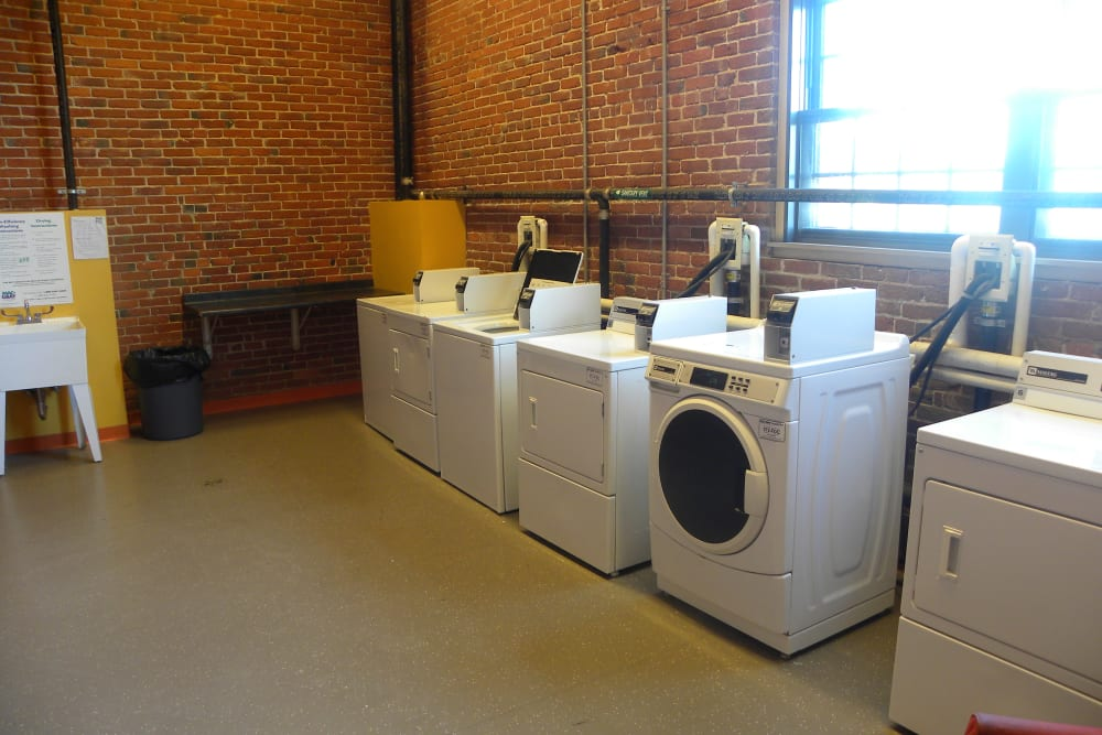 Laundry room at Union Crossing in Lawrence, Massachusetts
