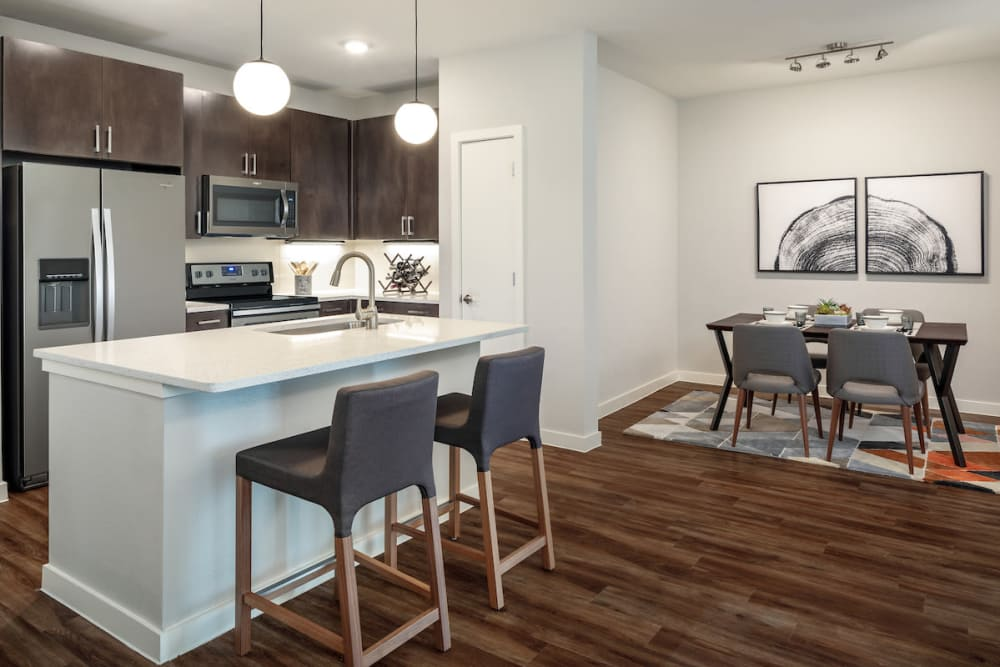 Spacious kitchen and dining area at Latitude at Presidio in Cedar Park, Texas