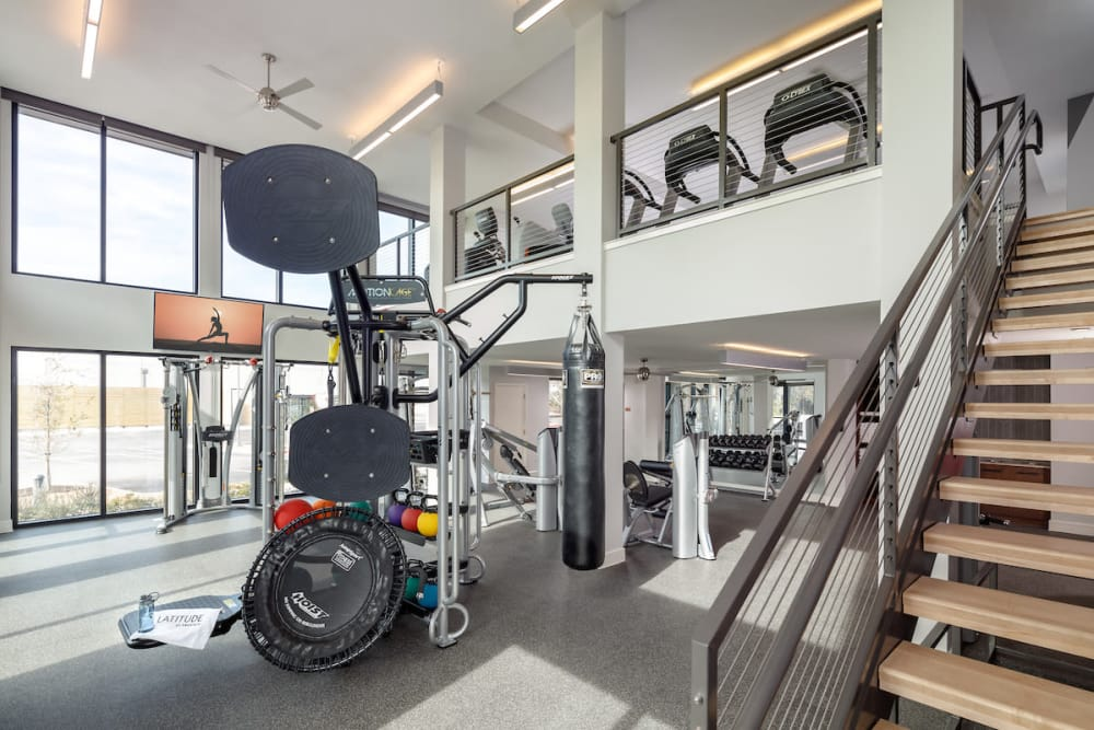 State-of-the-art fitness equipment at Latitude at Presidio in Cedar Park, Texas