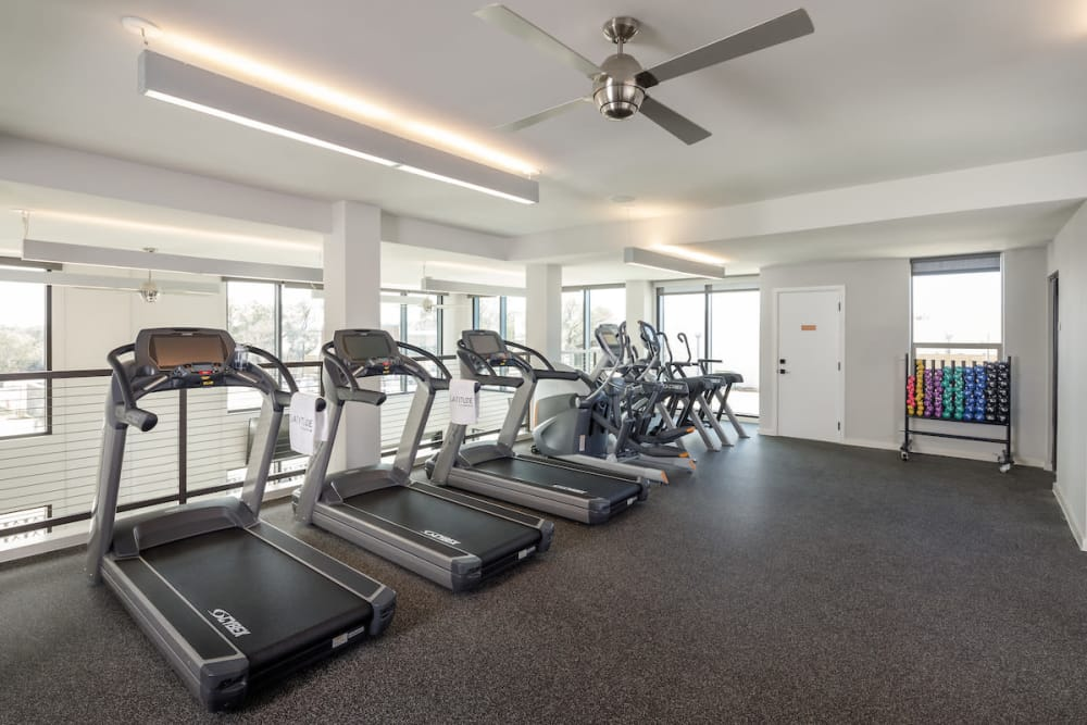 Excellent fitness center at Latitude at Presidio in Cedar Park, Texas