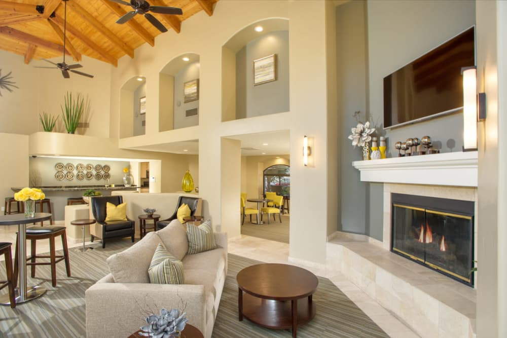 Clubhouse with fireplace at San Marin at the Civic Center in Scottsdale, Arizona