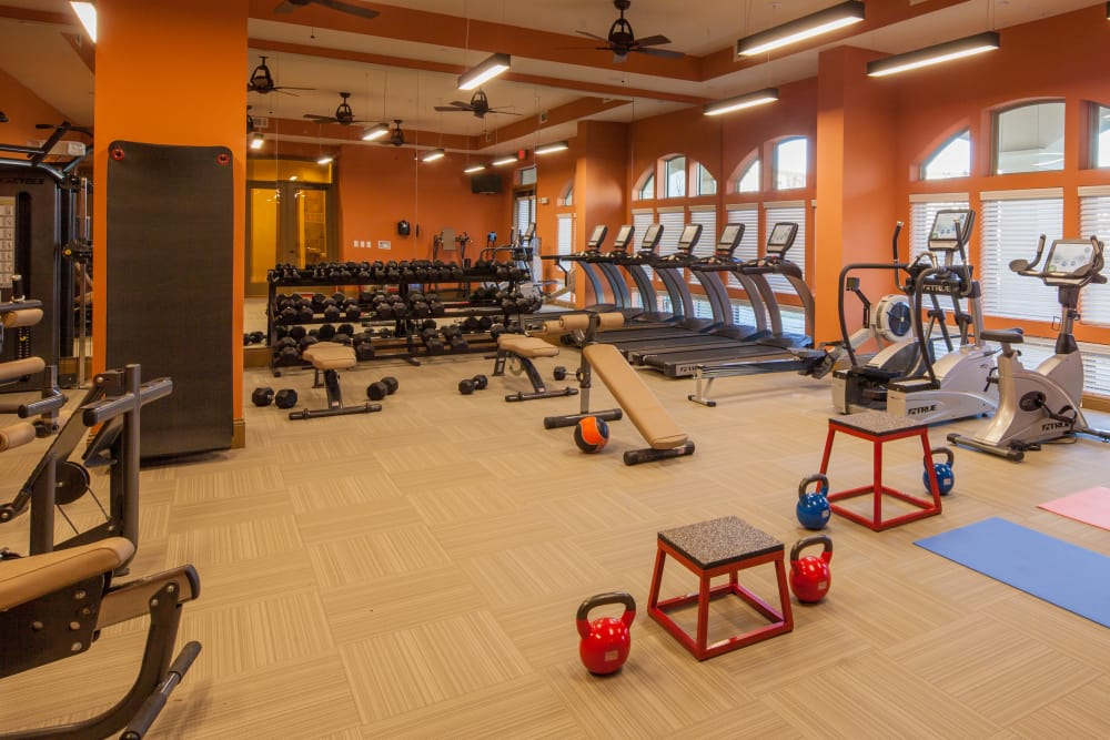 Spacious fitness center at The High Grove in Baton Rouge, Louisiana