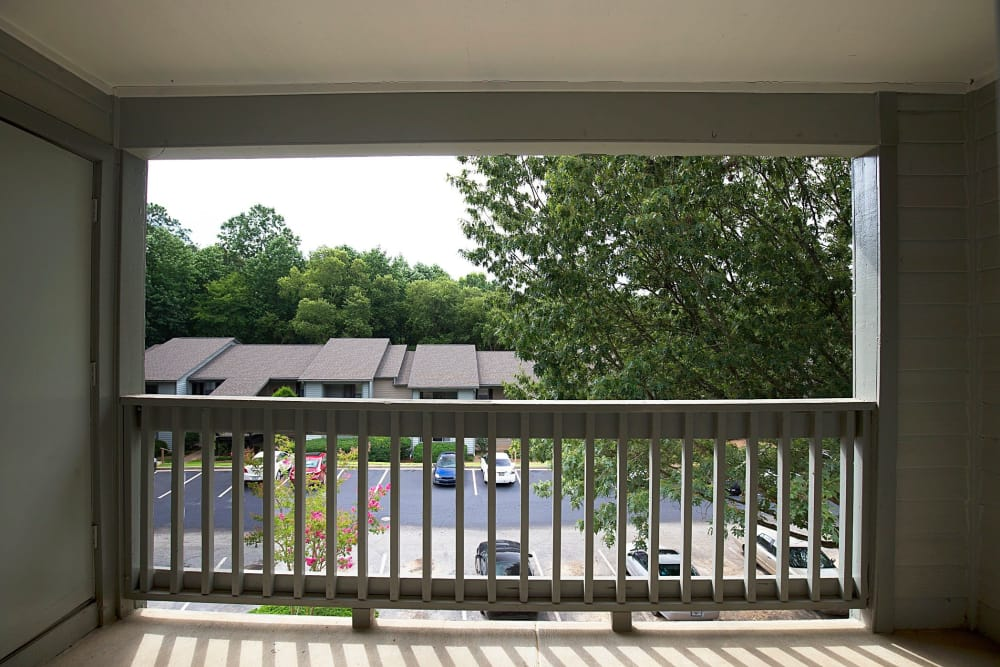 A private balcony at Lake Crossing in Austell, Georgia