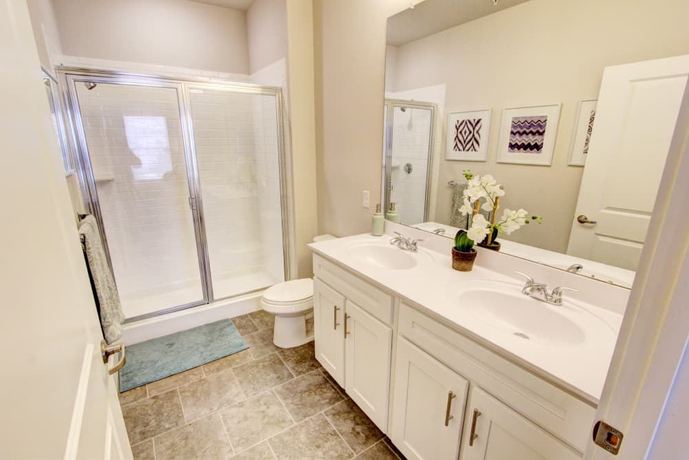 New renovated bathroom at The Pointe at Dorset Crossing in Simsbury, Connecticut