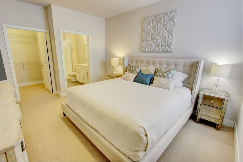 A model of bedroom at The Pointe at Dorset Crossing in Simsbury, Connecticut