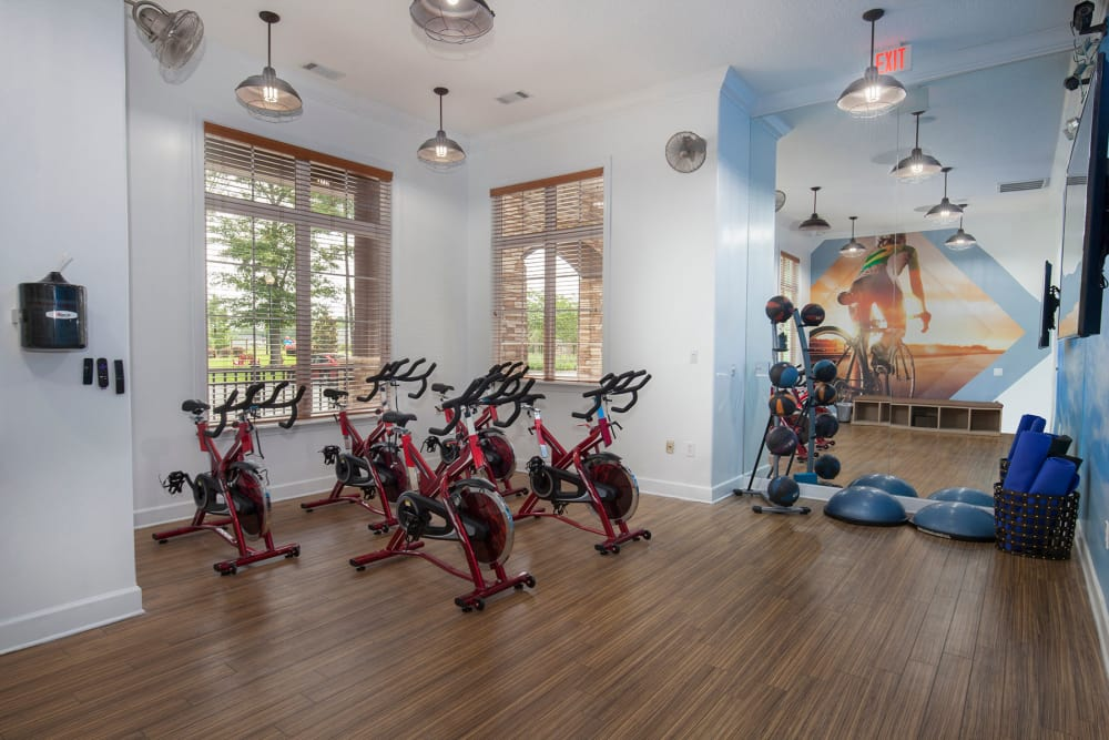 Cycling equipment at Panther Effingham Parc Apartments in Rincon, GA