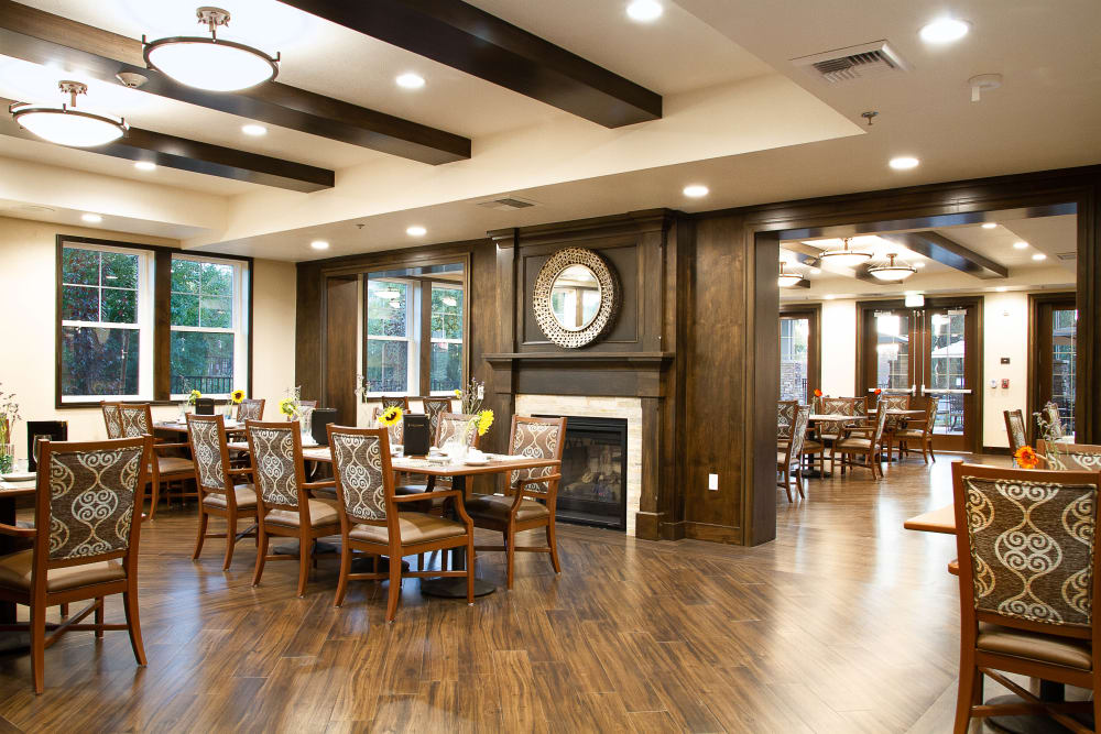 Dinning room with hardwood floors of The Terraces in Chico, California