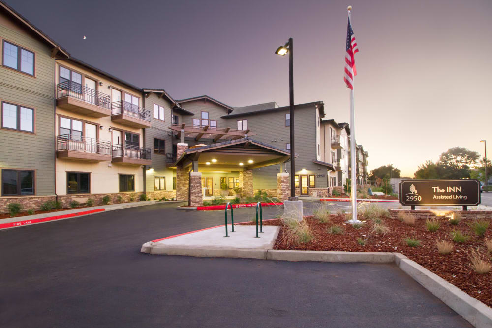 Front exterior with parking at The Terraces in Chico, California