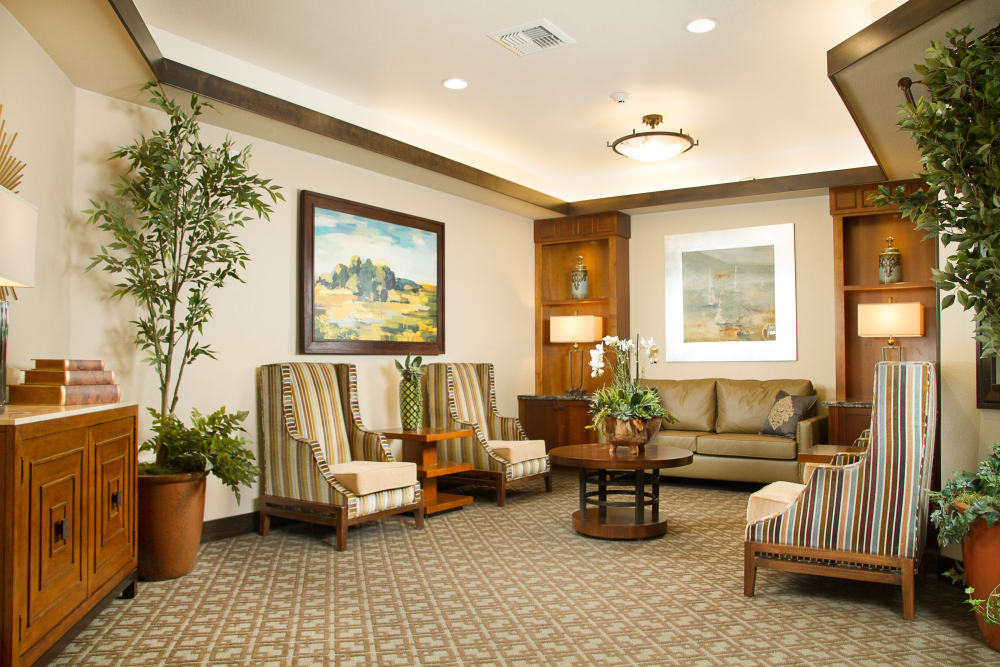 Lobby seating area at The Terraces in Chico, California