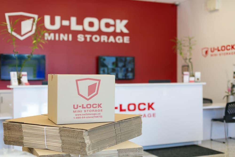 Packing supplies at U-Lock Mini Storage in Burnaby, British Columbia