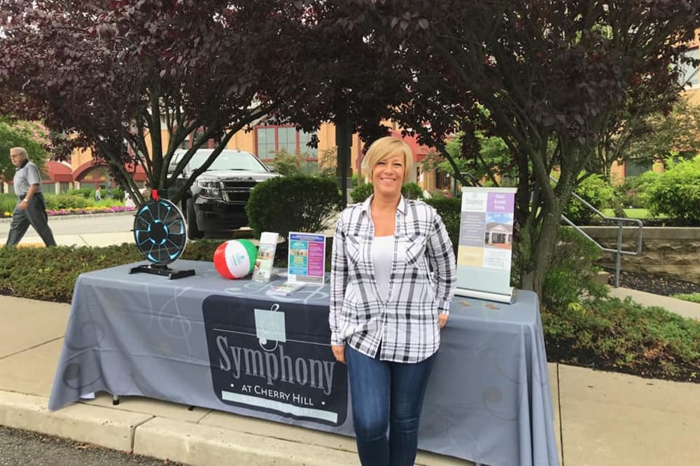 A Staff member at an event representing at Symphony at Cherry Hill in Cherry Hill, New Jersey.