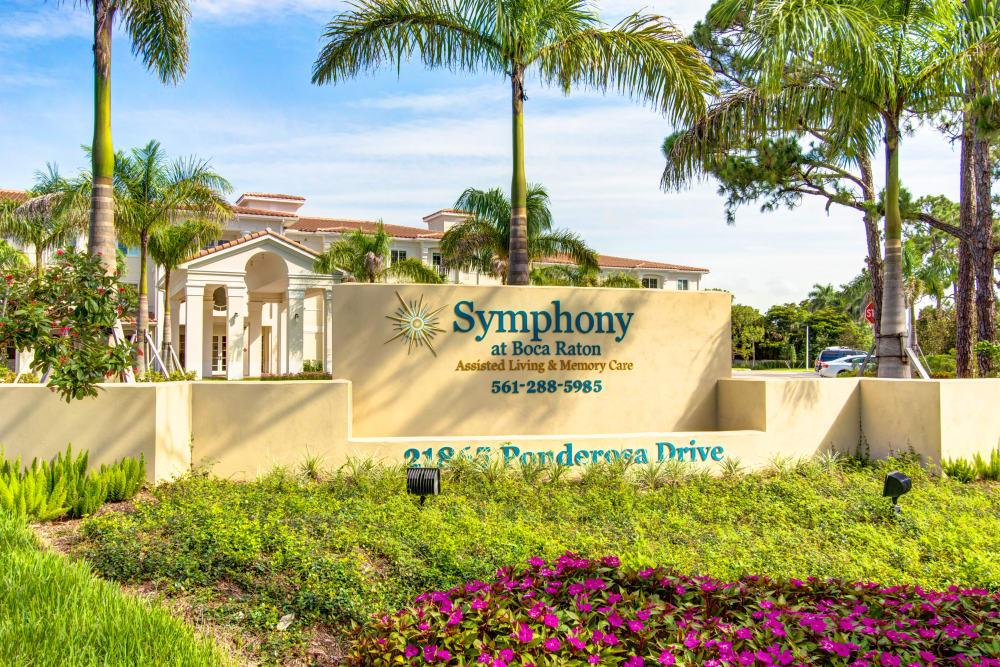 Welcome sign at Symphony at Boca Raton in Boca Raton, Florida.