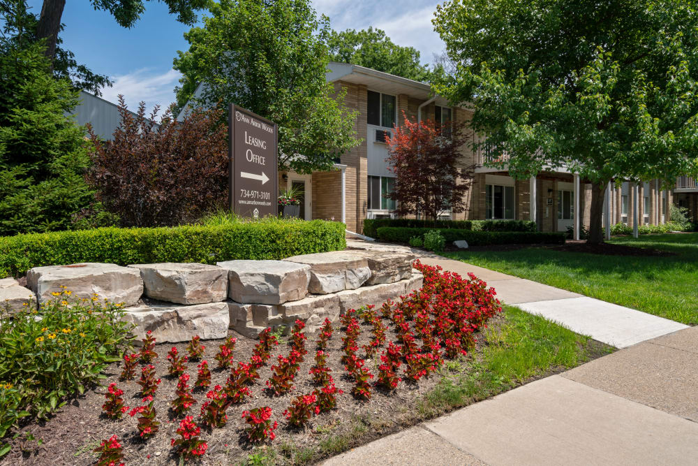 Flower gardens at Ann Arbor Woods Apartments in Ann Arbor, Michigan