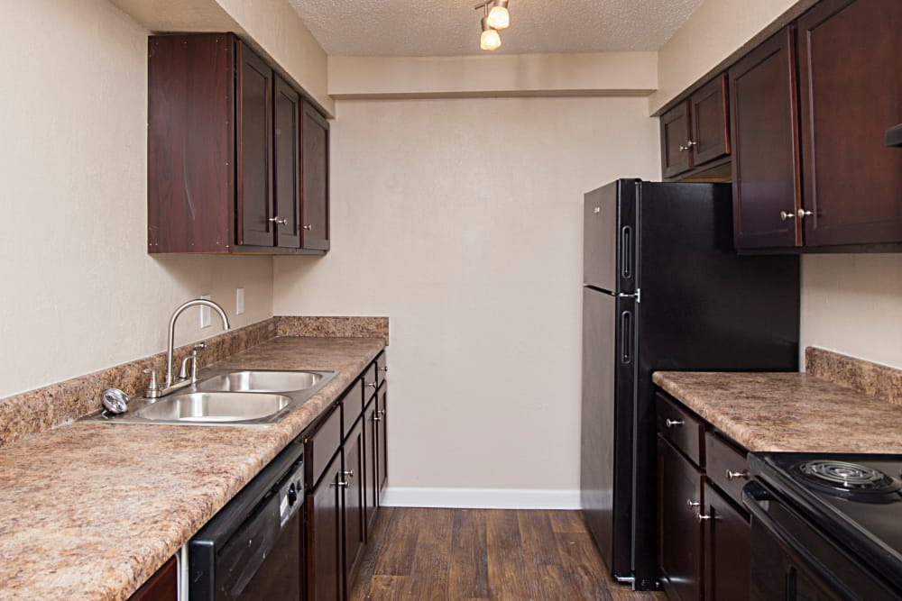 Modern kitchen at Avondale Reserve apartments in Avondale Estates, Georgia