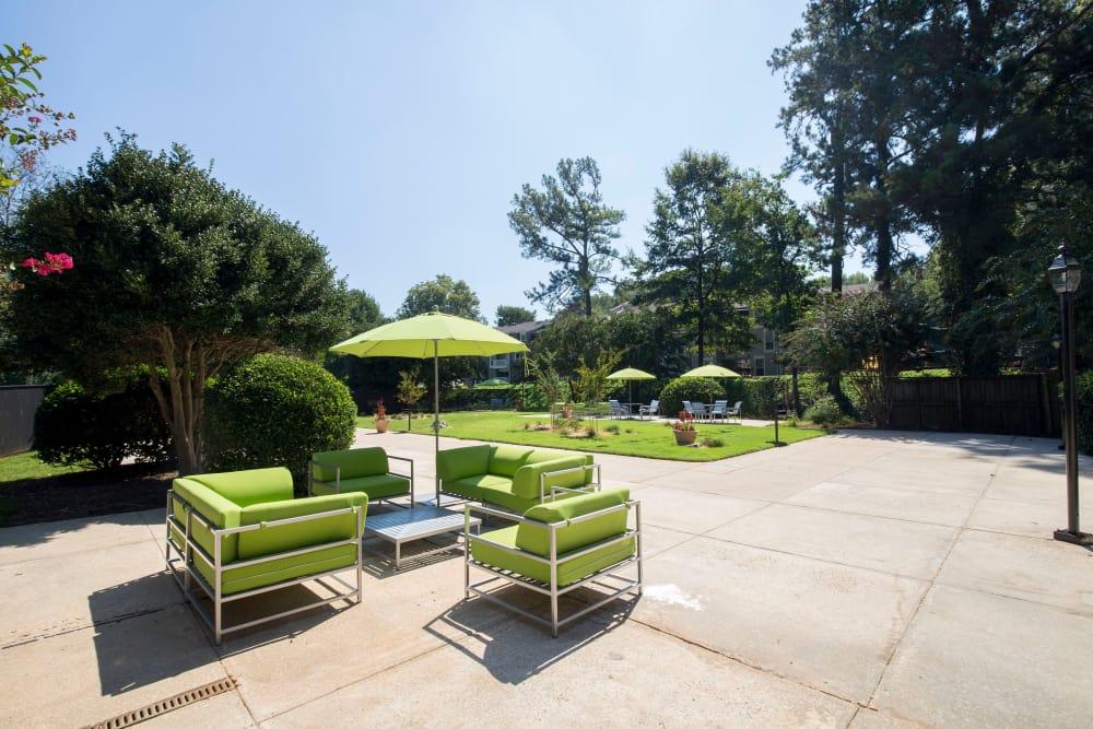 Outdoor seating at Avondale Reserve in Avondale Estates, Georgia