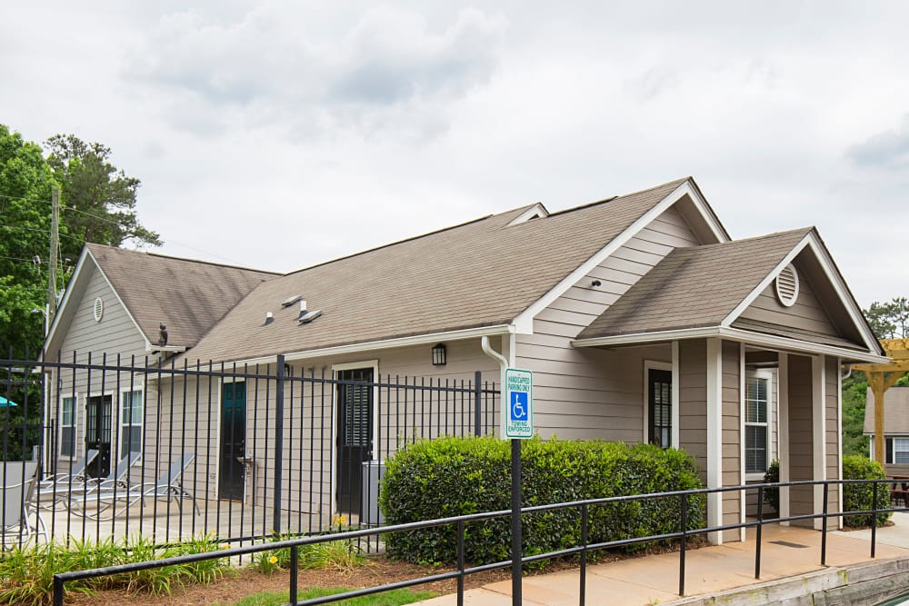 Exterior of leasing office at Gregory Lane apartments in Acworth, Georgia