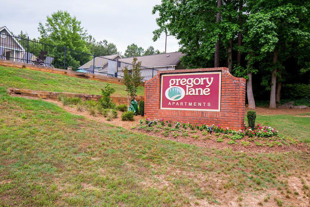 Welcome sign at Gregory Lane in Acworth, Georgia