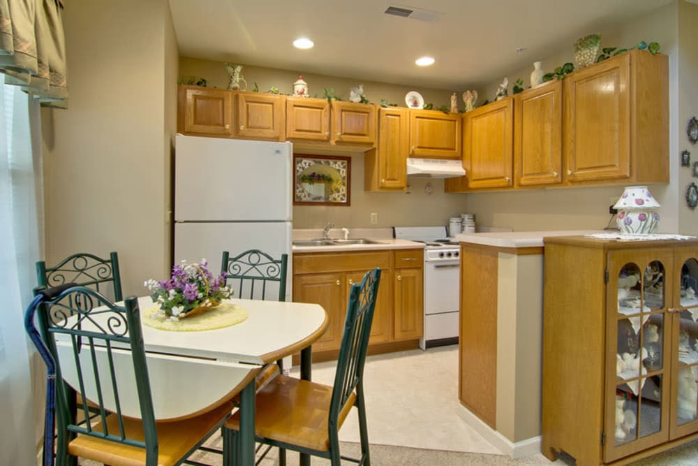 Kitchen and dining room at St. Francis Park Senior Living in Kennett, Missouri