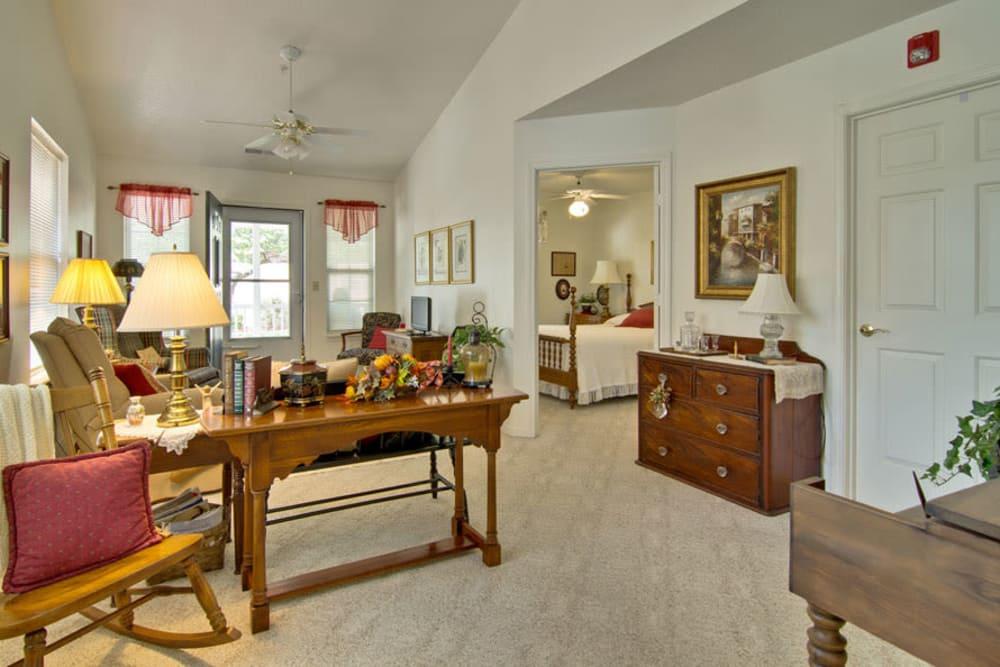 Apartment living room at St. Francis Park Senior Living in Kennett, Missouri