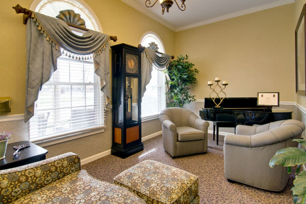 Music room with comfortable seating at St. Francis Park Senior Living in Kennett, Missouri