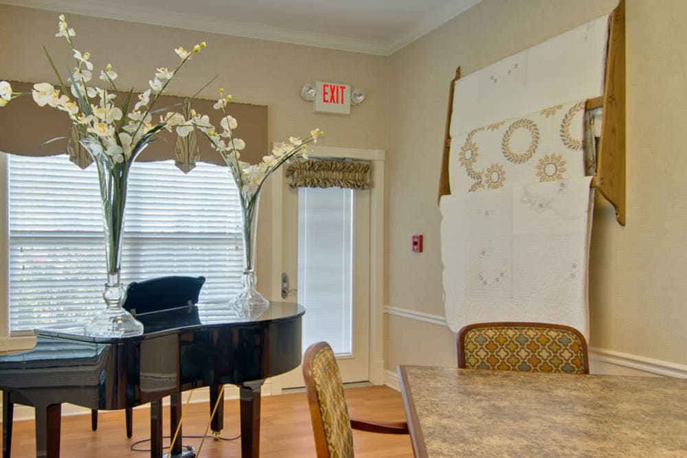 Music room with seating at Hartmann Village Senior Living in Boonville, Missouri