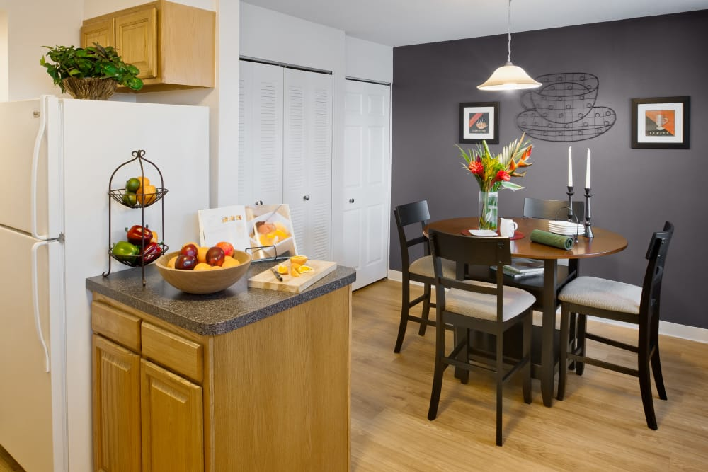 Kitchen and dining area at Brandywyne Village in East Boston, Massachusetts