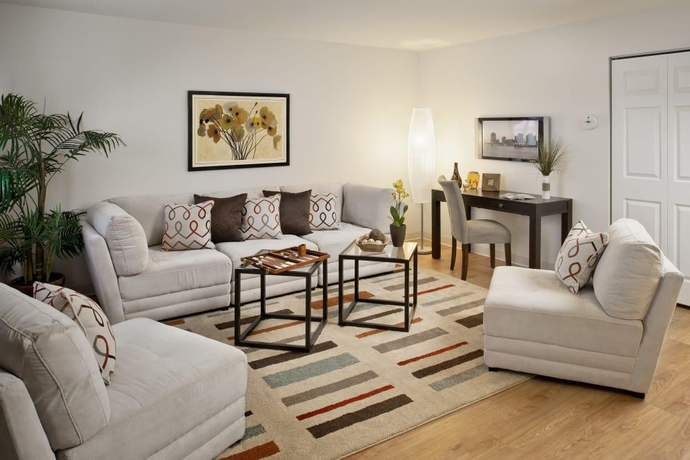 Naturally lit model living room at Brandywyne Village in East Boston, Massachusetts